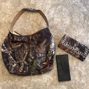 Purse with wallet and checkbook